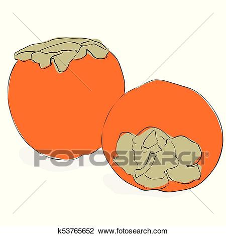 Clipart - Persimmon fruits on - Persimmon Clipart