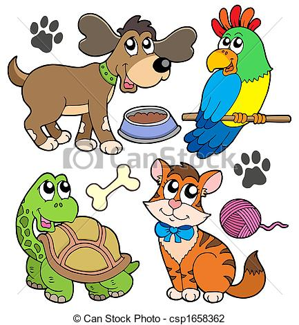 ... Pet collection - isolated illustration.