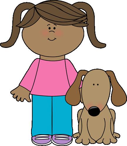 Pet Dog Clip Art Image Little Girl In Pi-Pet Dog Clip Art Image Little Girl In Pig Tails With Her Pet Dog-18
