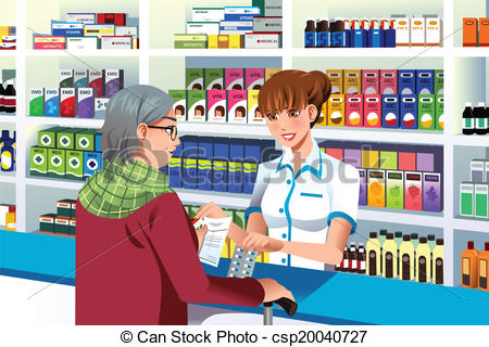 Pharmacist Clipartby radiantskies4/226; Pharmacist helping an elderly person - A vector illustration.