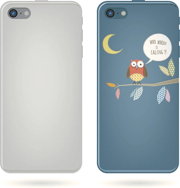 smart phone back view - owl on tree illustration vector art illustration