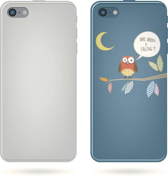 smart phone back view - owl on tree illu-smart phone back view - owl on tree illustration vector art illustration-15