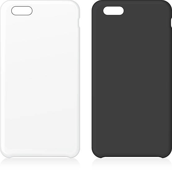 White and black phone case set. vector art illustration