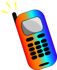 Cell Phone Clipart Image: A rainbow colored business cell phone