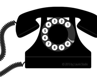 Digital Clipart-Clipart Singles-Retro Telephone-Black Phone-Vintage  Graphics-Image