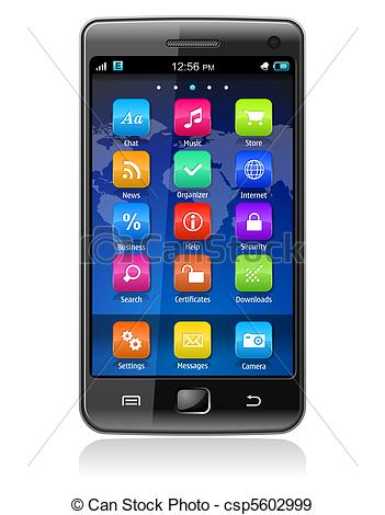 Phone Clipart. Touchscreen smartphone - .