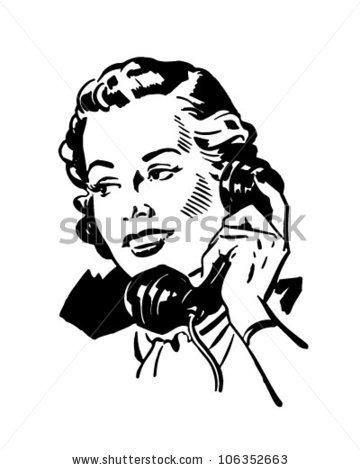 Phone Gal 2 - Retro Clipart Illustration-Phone Gal 2 - Retro Clipart Illustration-7
