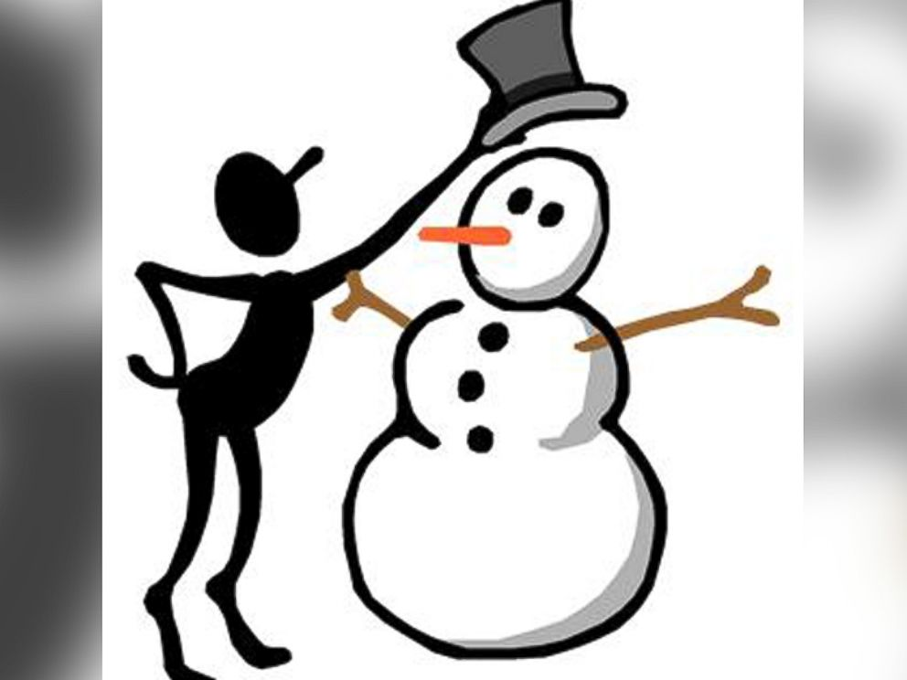 PHOTO: Screen Bean places a top hat on a snowman.