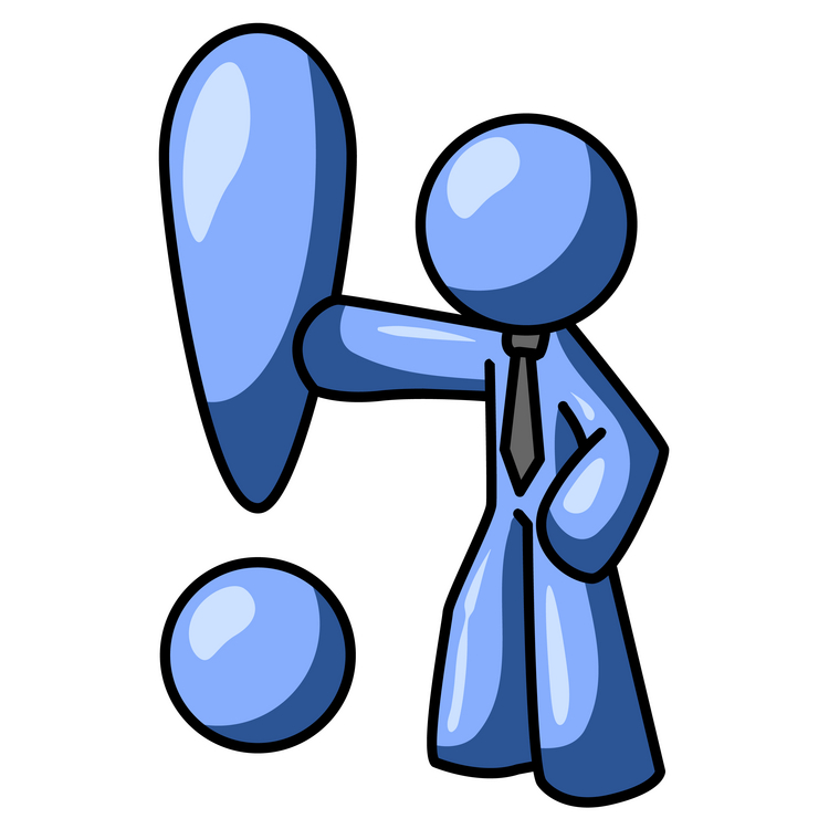 Blue Businessman Standing by a Large Exclamation Point Clipart Illustration