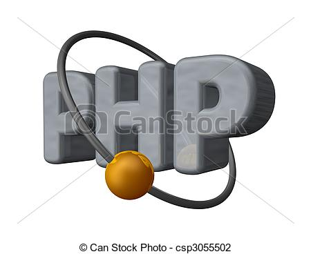 Golden Ball Fly Around The Letters Php - 3d Illustration