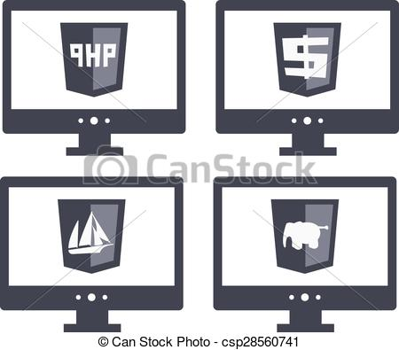 Vector Collection Of Web Development Shi-Vector Collection Of Web Development Shield Signs Php. Isolated Grey Icons-18