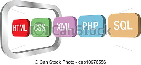 Web dev html css php into computer frame - csp10976556