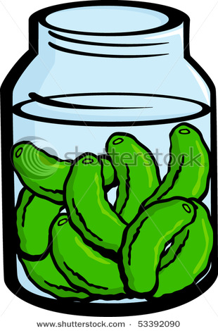 Pickle Jar Cartoon Clipart #1