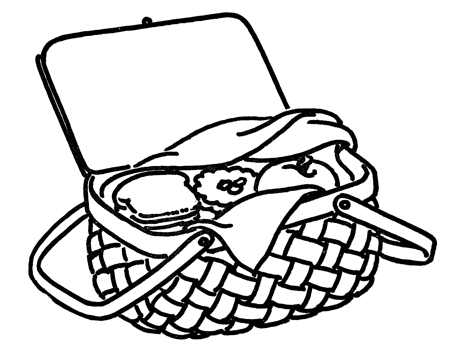 Picnic Basket Clipart Black And White-picnic basket clipart black and white-6