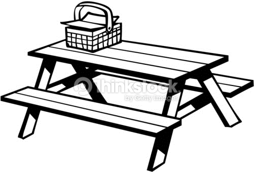 Picnic table and basket