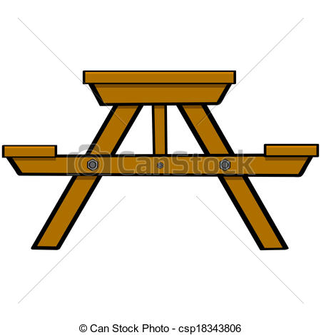 ... Picnic table - Cartoon illustration showing a typical wooden.