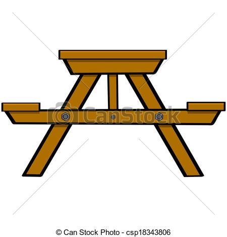 ... Picnic Table - Cartoon Illustration -... Picnic table - Cartoon illustration showing a typical wooden.-9