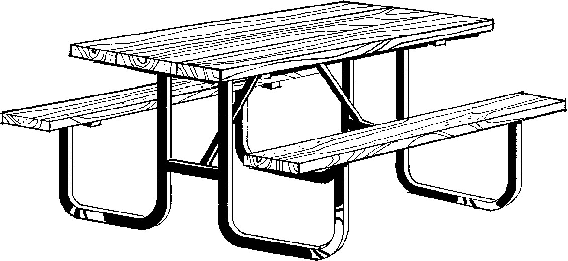 Picnic table clip art clipart black and white