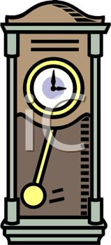 Picture of a Grandfather Clock In a Vector Clip Art Illustration - Royalty Free Clipart Illustration