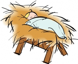 Picture of baby jesus in a manger clipart