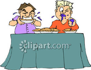 Pie Eating Contest At A Fair Royalty Free Clipart Picture