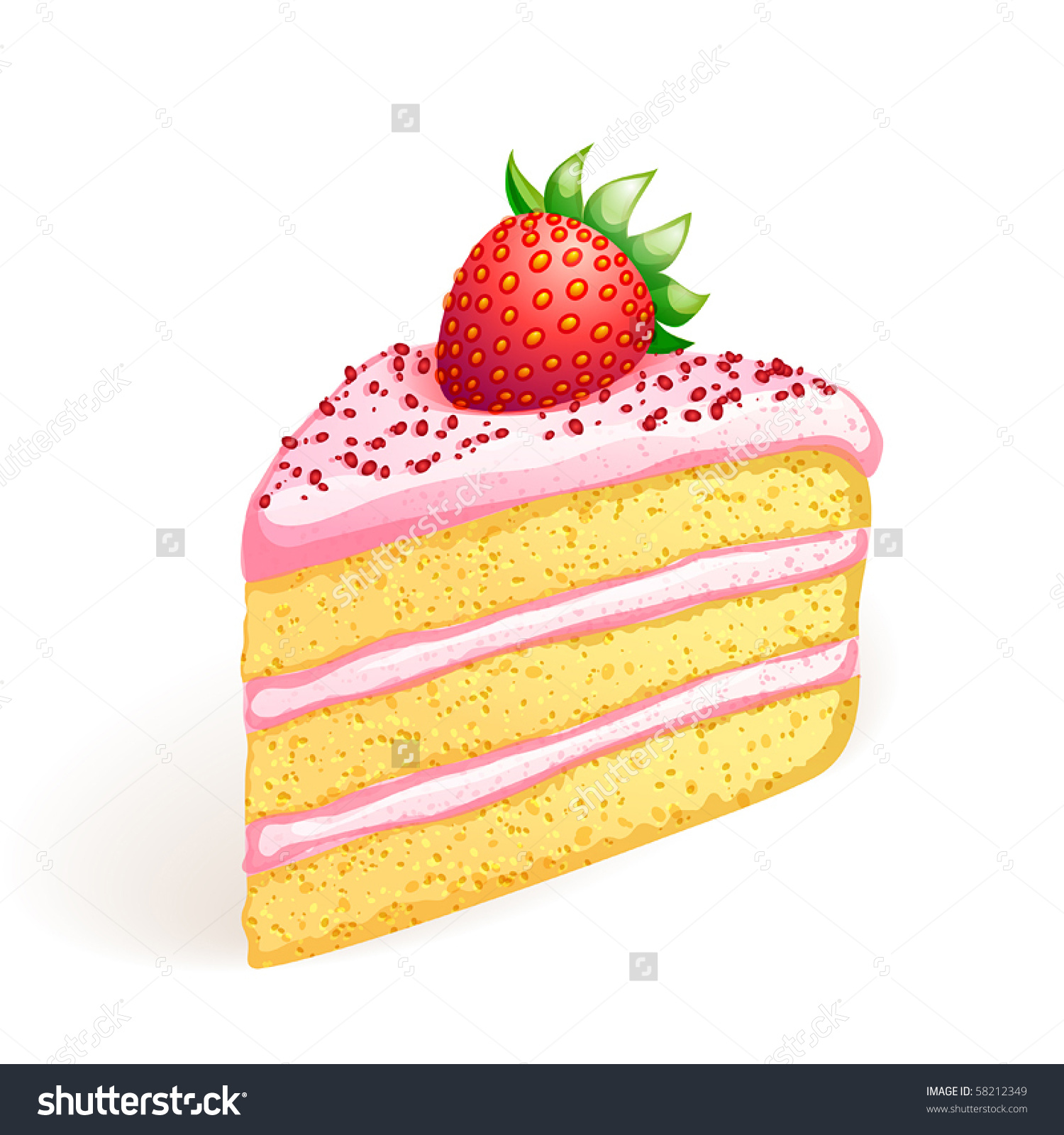 Piece Of Cake With Strawberry.