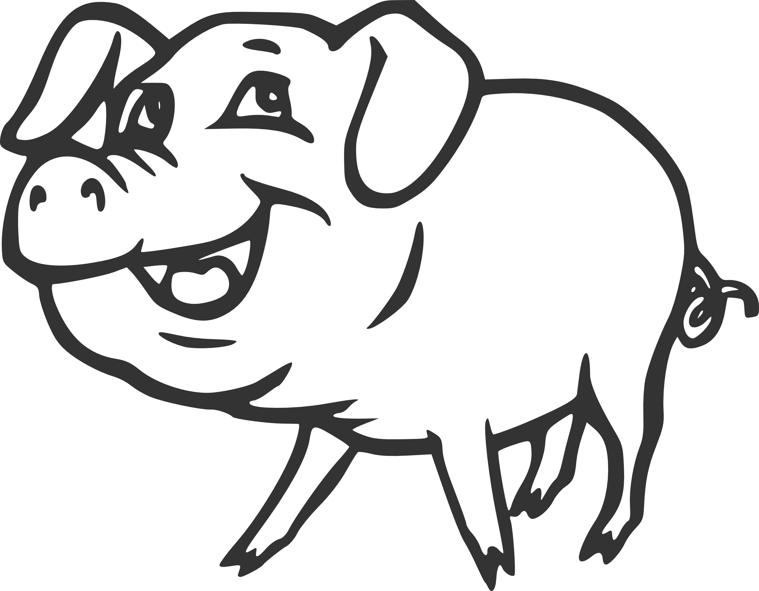 Pig Clipart Black And White Smiling Pig Black White Line Art Christmas