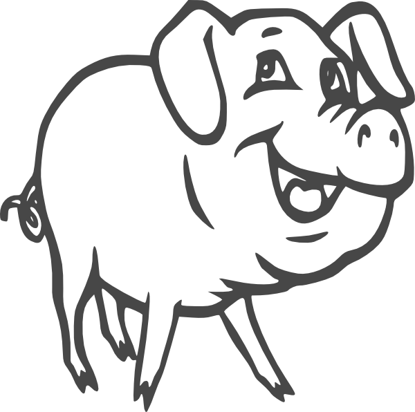 ... Pig Clipart Black And Whi - Pig Clipart Black And White