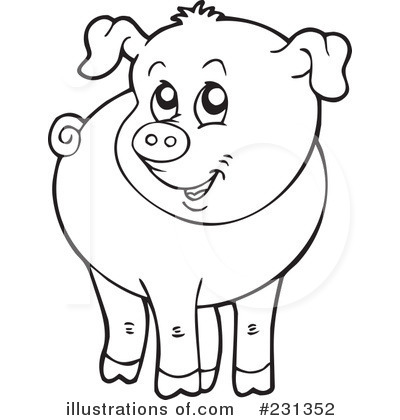 Pig clipart illustration by . - Pig Clipart Black And White