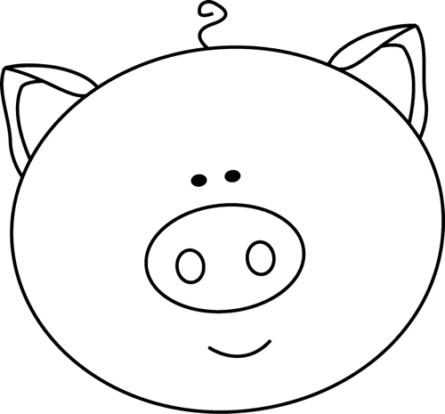 Pig Face Clip Art Image Large Black And -Pig Face Clip Art Image Large Black And White Outline Of A Pig Face-11