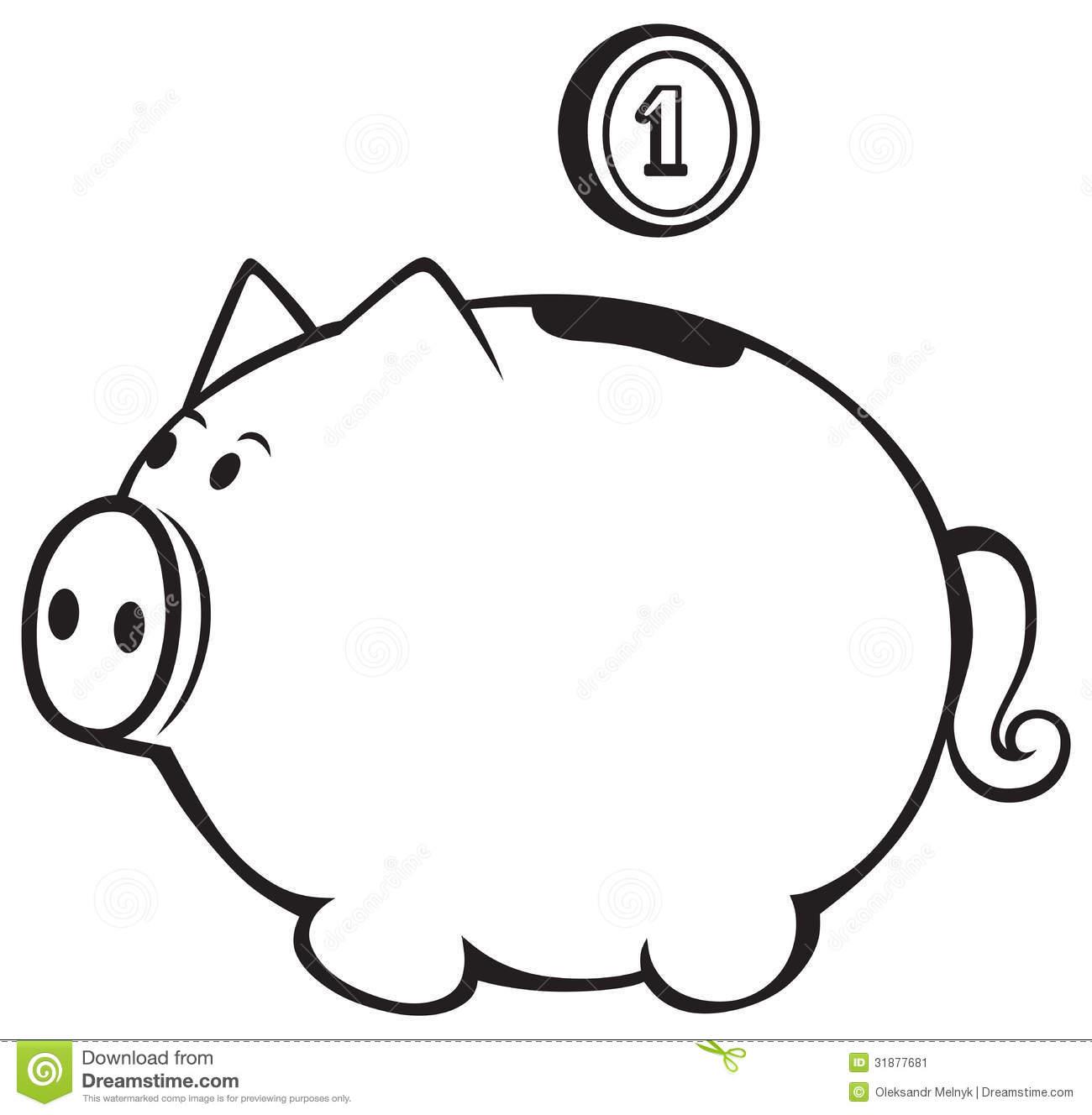 Piggy Bank Clipart Black And White-piggy bank clipart black and white-6