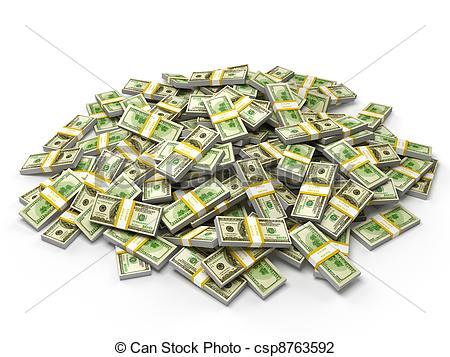 Pile Of Dollar Bundles - .-Pile of dollar bundles - .-5