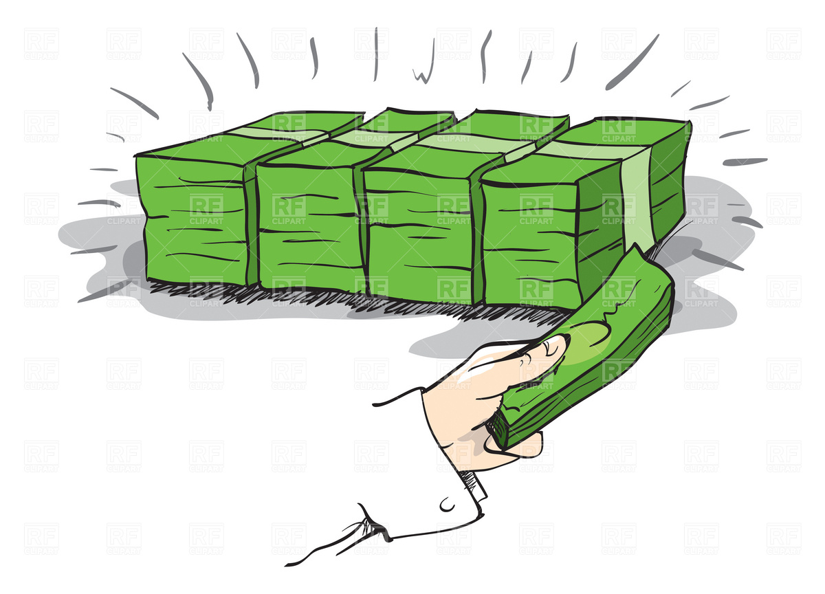 Pile Of Money With A Hand .-Pile of money with a hand .-11