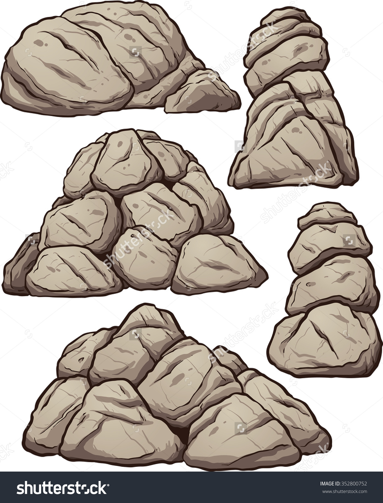 Piles of rocks. Vector clip art illustration with simple gradients. Each pile on a