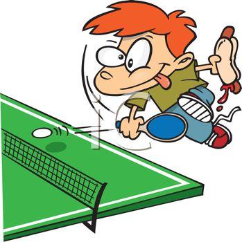 Royalty Free Clip Art Image: Kid Playing-Royalty Free Clip Art Image: Kid Playing Ping Pong While Eating a Hot Dog-5