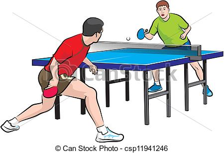 Two Players Play Table Tennis - Csp11941-two players play table tennis - csp11941246-6