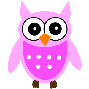 pink and gray owl clipart