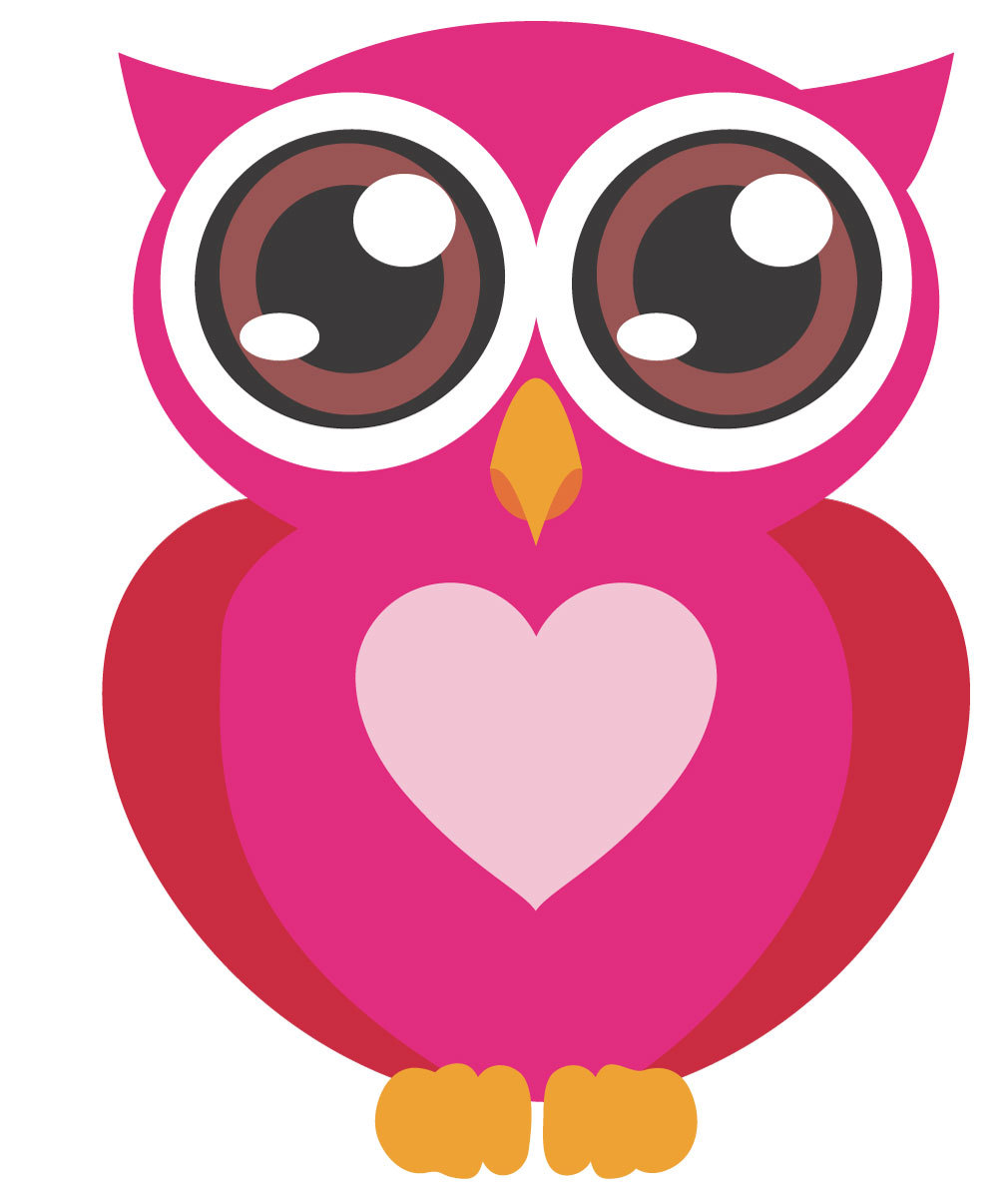 pink baby owl clipart