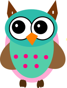 pink girl owl clipart