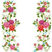 pink rose border clip art