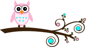 Pink And Aqua Owl On Branch .-Pink And Aqua Owl On Branch .-5