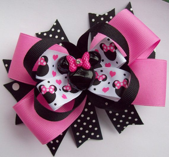 Pink And Black Minnie Mouse Head Hair Bow -Large Minnie Mouse Pink And Back Hair