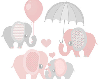 Pink And Grey Elephant Clip Art, Elephan-Pink and Grey Elephant Clip Art, Elephant Baby Shower Graphics, Nursery Clipart-9