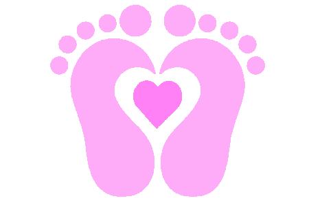 Pink Baby Footprint Clipart .