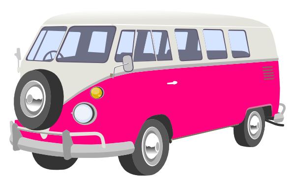 Pink Camper Van Clip Art - Van Clipart