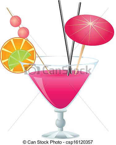 ... Pink cocktail - Tropical pink cocktail with small umbrella.