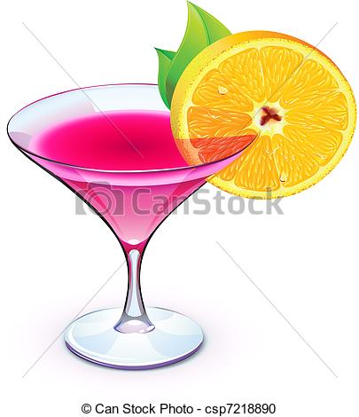 ... pink cocktail - Vector il - Cocktails Clipart