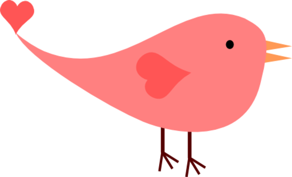 Pink Female Love Bird image - vector clip art online, royalty free