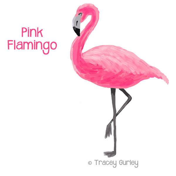 Pink Flamingo - Original art download 2 files, flamingo printable, flamingo clip art