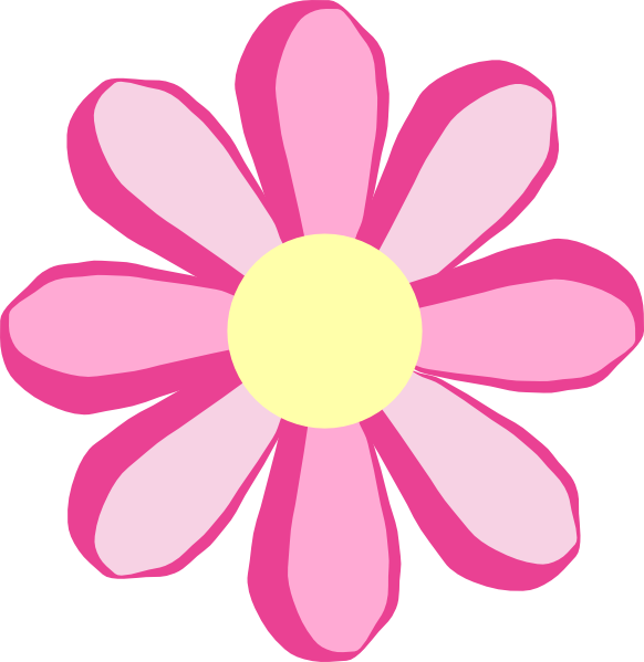 Pink Flower Clip Art At Clker - Pink Flowers Clipart
